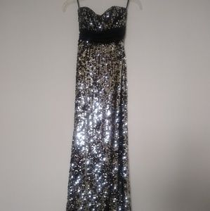 Silver sequins back cutout and twist maxi dress